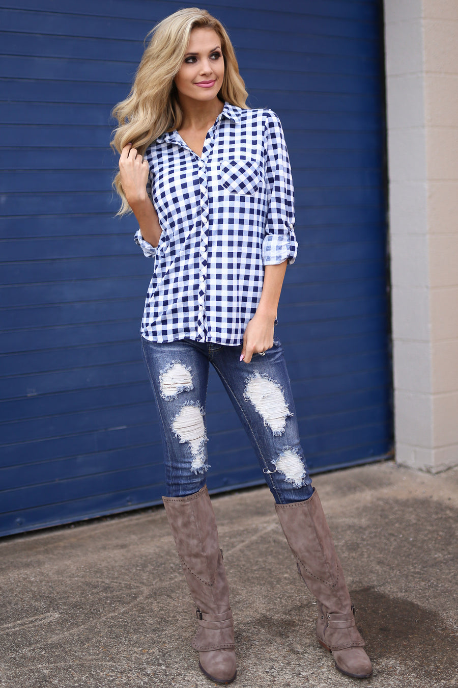 My Hometown Top - Navy/White checkered plaid button up top, side, Closet Candy Boutique