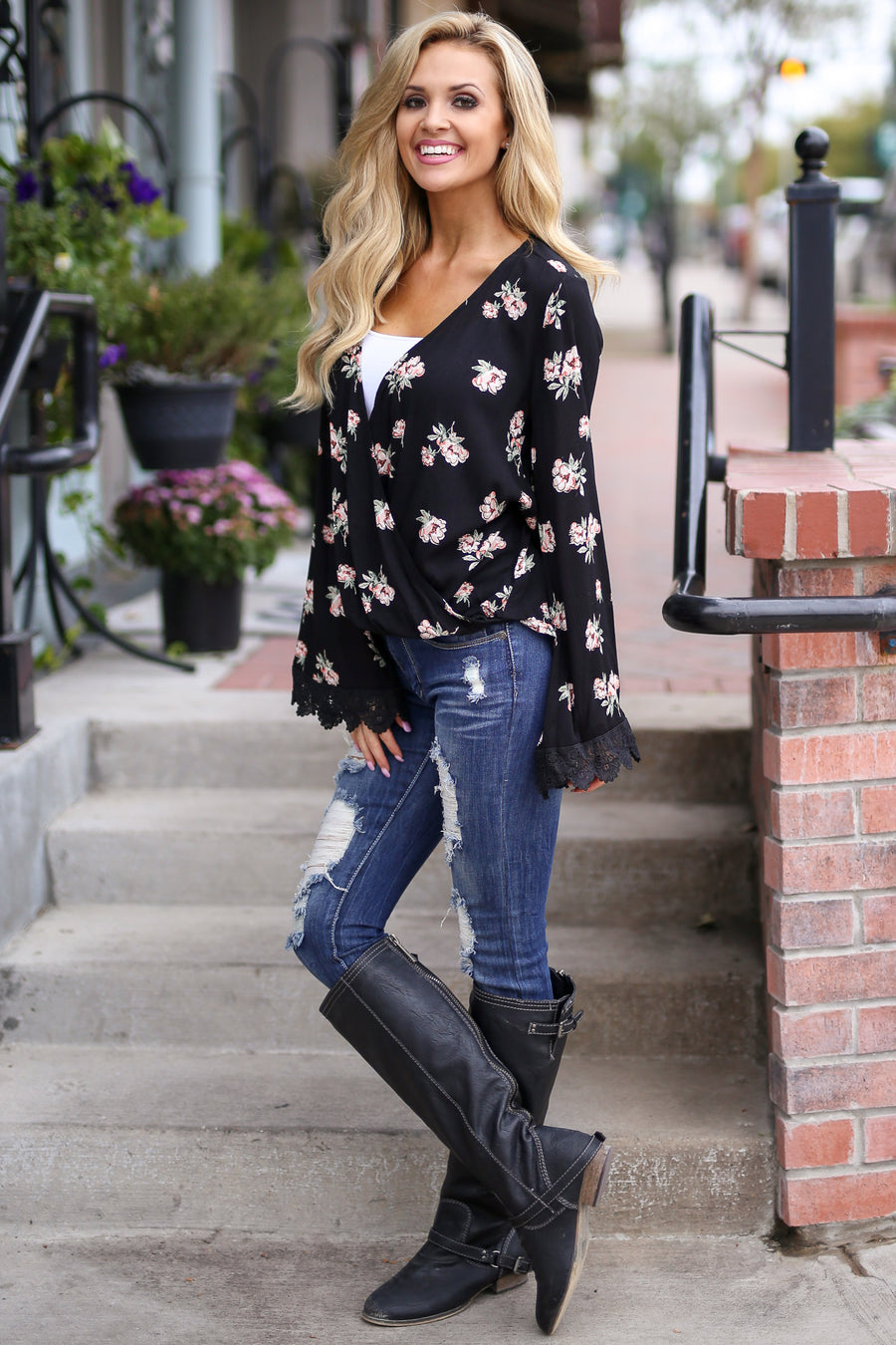 Be A Wildflower Top - Black surplice floral print bell sleeve top, front, Closet Candy Boutique