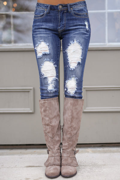 MACHINE Distressed Skinny Jeans - Katie Wash distressed skinny low rise jeans, Closet Candy Boutique 1