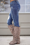 MACHINE Distressed Skinny Jeans - Katie Wash distressed skinny low rise jeans, Closet Candy Boutique 5