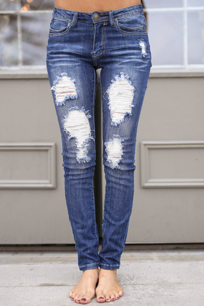 MACHINE Distressed Skinny Jeans - Katie Wash distressed skinny low rise jeans, Closet Candy Boutique 4