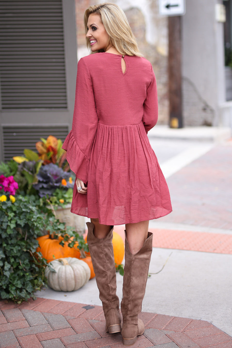 Leave Them Speechless Dress - cute marsala ruffle sleeve dress, fall outfit, front, Closet Candy Boutique