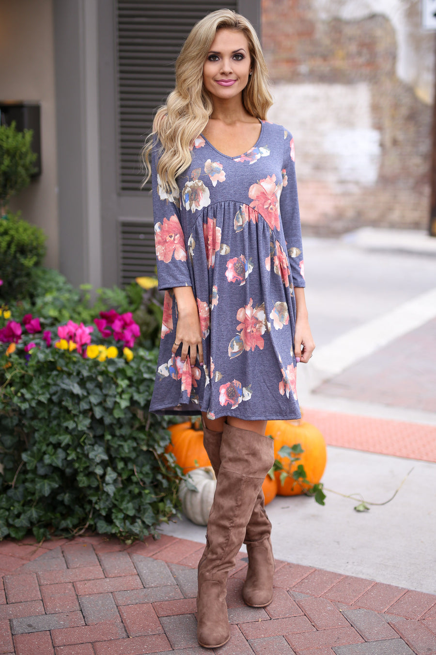 Good Ole' Days Dress - Navy floral print flowy dress, side, Closet Candy Boutique