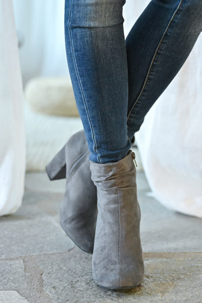 Annie Slouchy Ankle Booties - Grey womens trendy vegan suede slouchy ankle chunky heel closet candy front