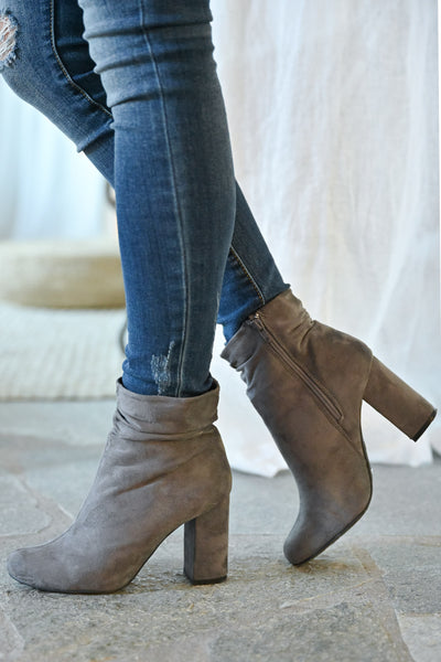 Annie Slouchy Ankle Booties - Grey womens trendy vegan suede slouchy ankle chunky heel closet candy side
