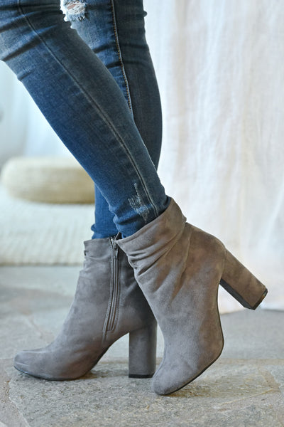Annie Slouchy Ankle Booties - Grey womens trendy vegan suede slouchy ankle chunky heel closet candy side 2