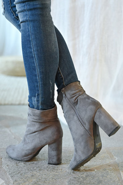 Annie Slouchy Ankle Booties - Grey womens trendy vegan suede slouchy ankle chunky heel closet candy back