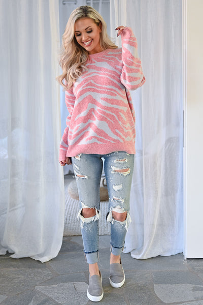 All Yours Zebra Pullover Sweater - Pink & Grey womens knit pullover round neckline long sleeve closet candy front 3