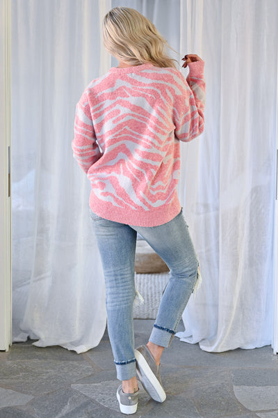 All Yours Zebra Pullover Sweater - Pink & Grey womens knit pullover round neckline long sleeve closet candy back