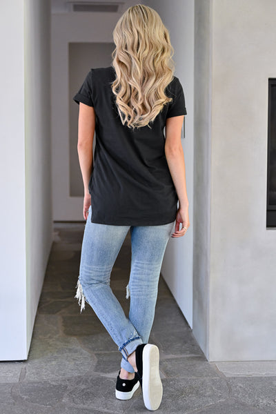 Lips Are Sealed Graphic Tee - Black womens trendy distressed graphic leopard lips tshirt closet candy back
