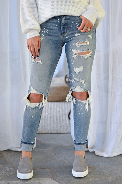 KAN CAN Jenna Distressed Skinny Jeans - Light Wash womens trendy paint splatter high rise distressed denim closet candy front
