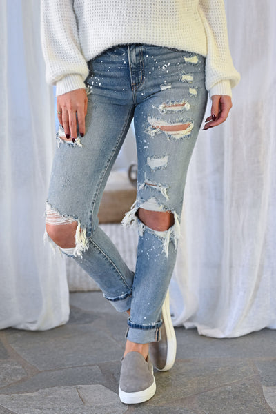 KAN CAN Jenna Distressed Skinny Jeans - Light Wash womens trendy paint splatter high rise distressed denim closet candy front 2