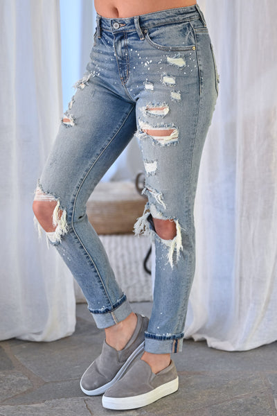 KAN CAN Jenna Distressed Skinny Jeans - Light Wash womens trendy paint splatter high rise distressed denim closet candy side