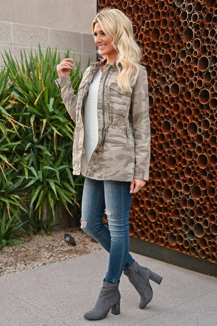 THREAD & SUPPLY Mountain Town Cargo Jacket - Dusty Camo womens trendy long sleeve sherpa lined collared camo jacket closet candy front