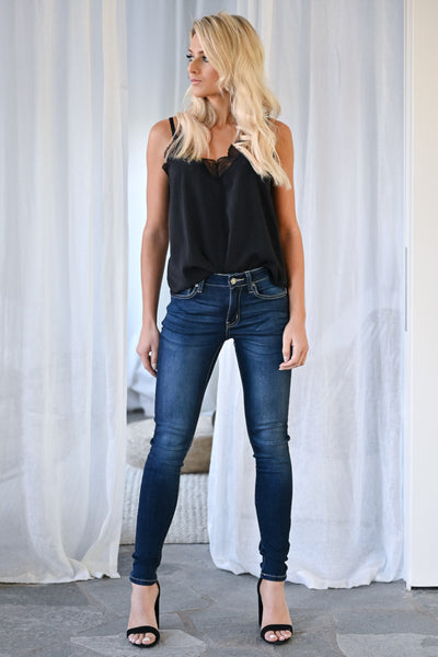 KAN CAN Amelia Skinny Jeans - Dark Wash womens trendy mid-rise solid denim closet candy outfit