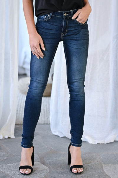 KAN CAN Amelia Skinny Jeans - Dark Wash womens trendy mid-rise solid denim closet candy front