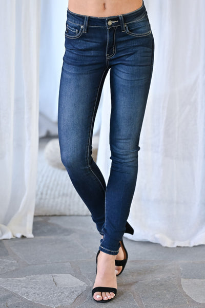 KAN CAN Amelia Skinny Jeans - Dark Wash womens trendy mid-rise solid denim closet candy front 2