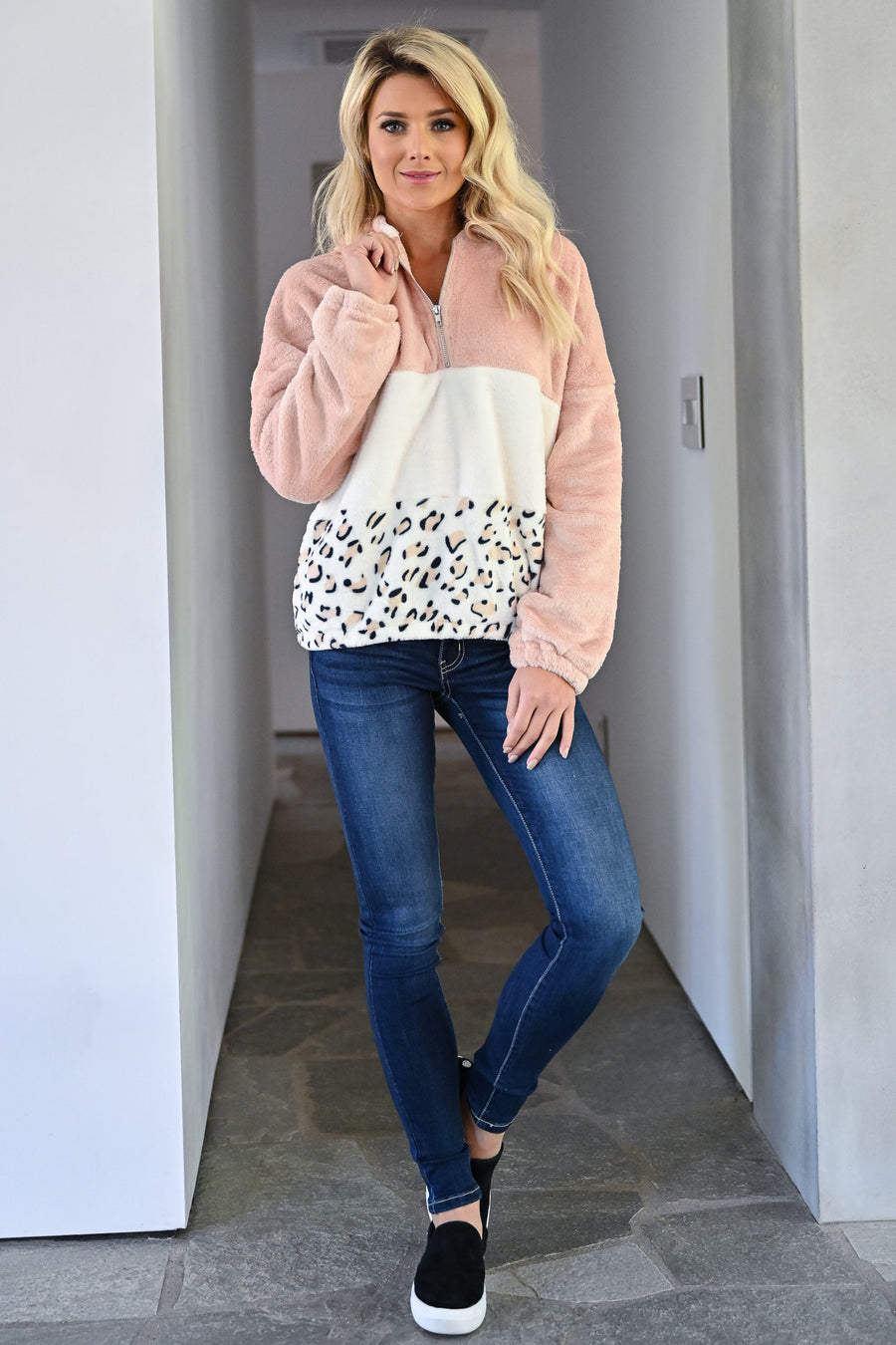 Let's Do This Leopard Hoodie - Blush womens long sleeve half zip pullover color block hooded sweatshirt closet candy front