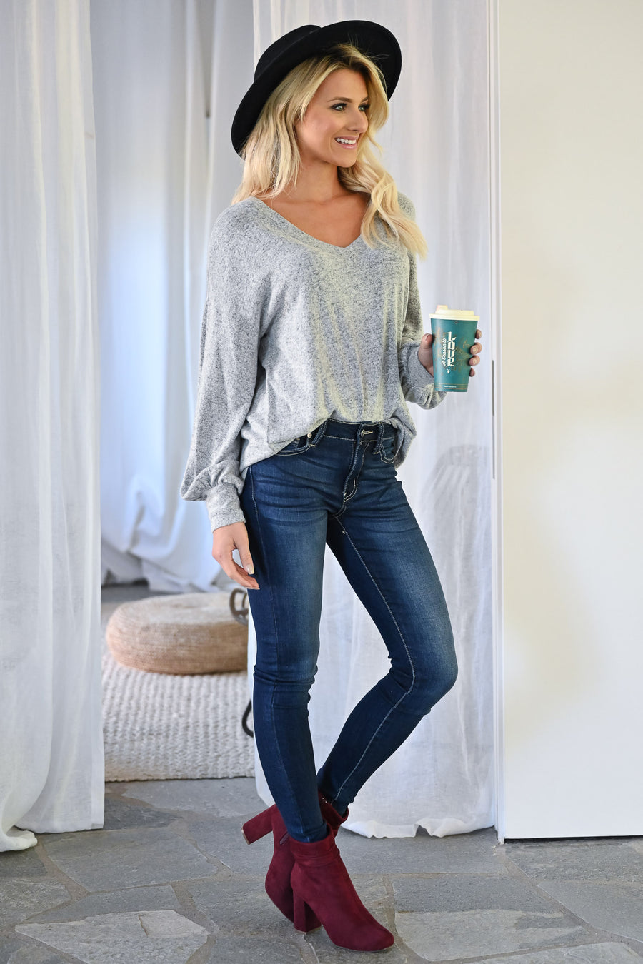 Compelling Story Top - Heather Grey womens trendy bishop long sleeve v-neck top closet candy front