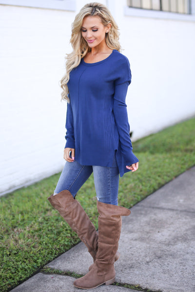 For Good Reason Sweater - Navy long sleeve scoop neck sweater, side, Closet Candy Boutique