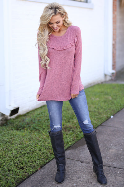 Oh So Lovely Top - Heathered Marsala long sleeve ruffle top, front, Closet Candy Boutique