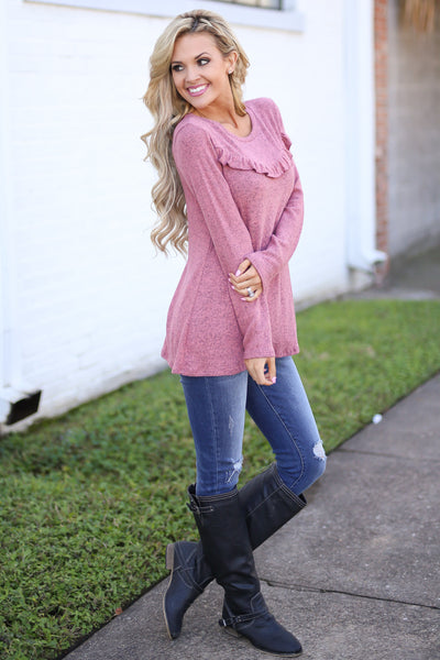Oh So Lovely Top - Heathered Marsala long sleeve ruffle top, side, Closet Candy Boutique