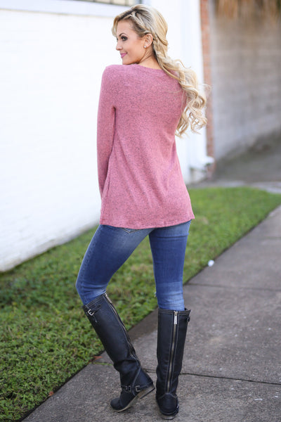 Oh So Lovely Top - Heathered Marsala long sleeve ruffle top, back, Closet Candy Boutique