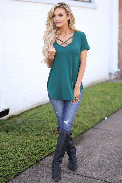 Blaze The Way Top - Emerald trendy criss cross top, front, Closet Candy Boutique