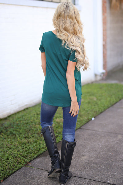 Blaze The Way Top - Emerald trendy criss cross top, back, Closet Candy Boutique