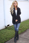 At Your Leisure Cardigan - Heathered Charcoal knit cardigan, front, cute fall style, Closet Candy Boutique 4
