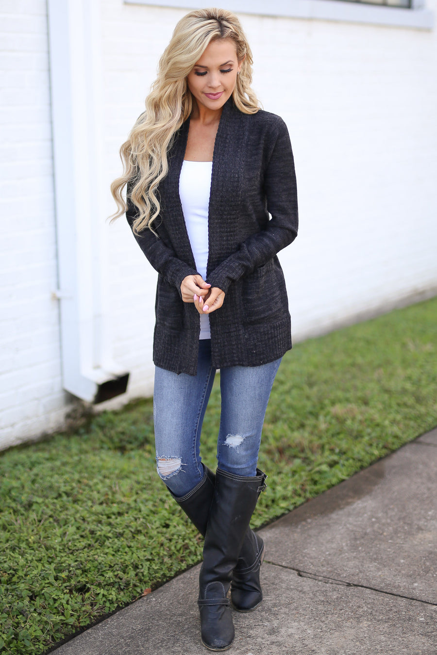 At Your Leisure Cardigan - Heathered Charcoal knit cardigan, side, cute fall style, Closet Candy Boutique 1