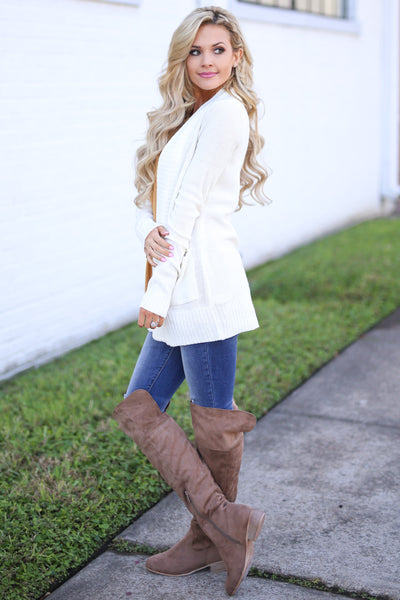 At Your Leisure Cardigan - Ivory knit cardigan, side, Closet Candy Boutique 2
