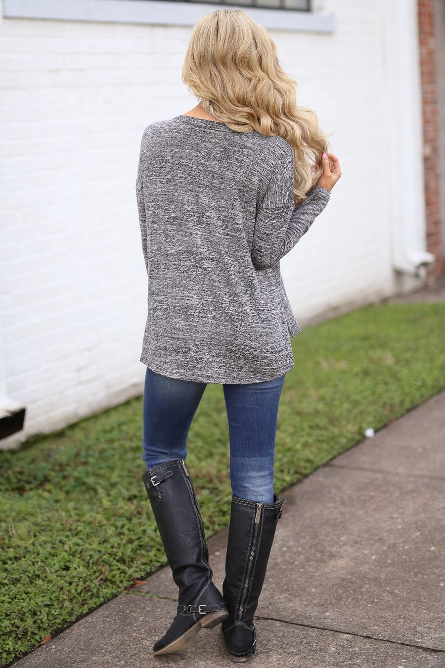 Let the Good Times Roll Top - Heathered Black v-neck long sleeve basic top, front, Closet Candy Boutique