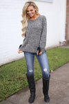 Snow Day Sweater - Heathered Black long sleeve knit sweater, front, Closet Candy Boutique