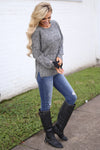 Snow Day Sweater - Heathered Black long sleeve knit sweater, side, Closet Candy Boutique