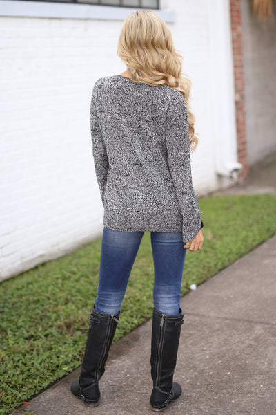 Snow Day Sweater - Heathered Black long sleeve knit sweater, back, Closet Candy Boutique