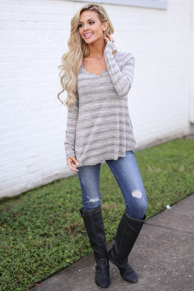 Good For the Heart Top - Heather Grey stripe top with pockets, outfit, Closet Candy Boutique