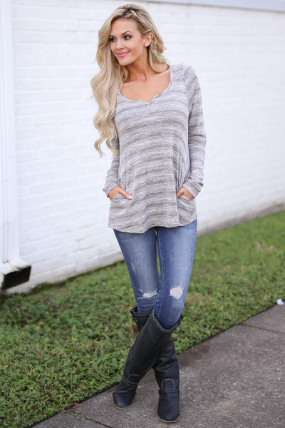 Good For the Heart Top - Heather Grey stripe top with pockets, front, Closet Candy Boutique