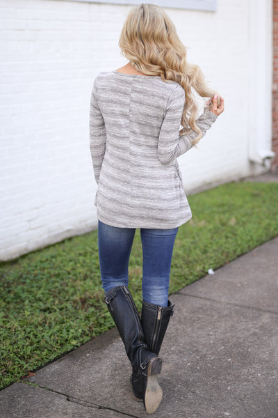 Good For the Heart Top - Heather Grey stripe top with pockets, back, Closet Candy Boutique