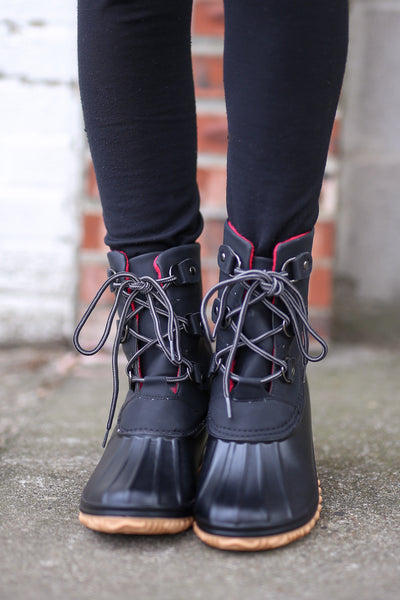 Coming In Red Hot Duck Boots - Black water resistant duck boots, winter boots, front, Closet Candy Boutique