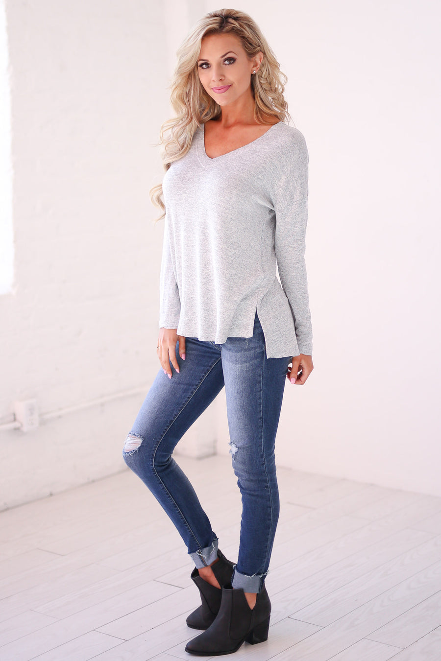 Let the Good Times Roll Top - Heather Grey v-neck long sleeve top, basics, Closet Candy Boutique
