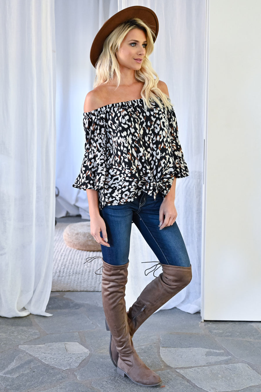 Don't Underestimate Leopard Top - Black womens trendy off the shoulder leopard print tie front top closet candy front