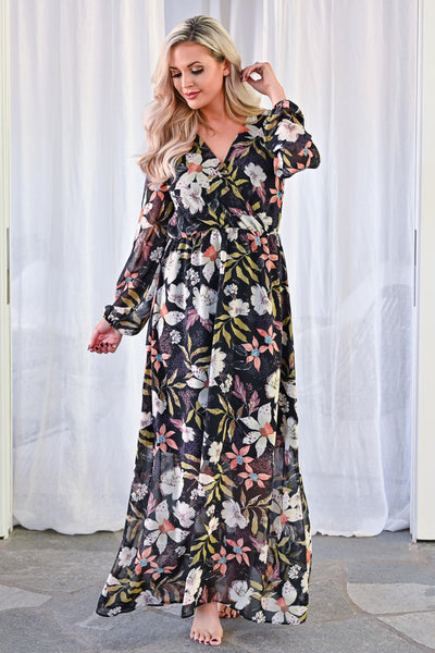 EVERLY Crushing Hard Floral Maxi Dress - Black womens trendy long sleeve floral chiffon long maxi dress closet candy front