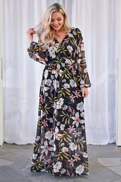 EVERLY Crushing Hard Floral Maxi Dress - Black womens trendy long sleeve floral chiffon long maxi dress closet candy front 2