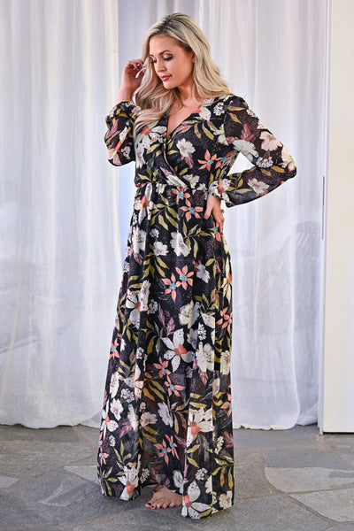 EVERLY Crushing Hard Floral Maxi Dress - Black womens trendy long sleeve floral chiffon long maxi dress closet candy side