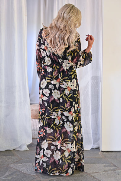 EVERLY Crushing Hard Floral Maxi Dress - Black womens trendy long sleeve floral chiffon long maxi dress closet candy back
