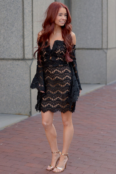 Such A Sweetheart Dress - Black off the shoulder bell sleeve lace dress, front, Closet Candy Boutique