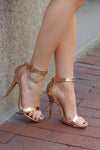 Love Sick Heels - Rose Gold strappy heels, side, Closet Candy Boutique
