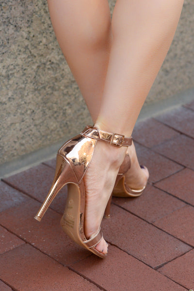 Love Sick Heels - Rose Gold strappy heels, back, Closet Candy Boutique