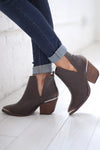 In Your Footsteps Booties - Chocolate side slit western booties, side, Closet Candy Boutique
